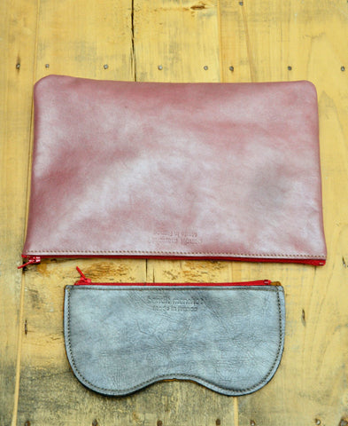 Bandit Manchot / leather XXL zipped purse (shiny smorky rose)