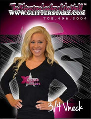 3/4 Sleeve Shirt Featuring Rhinestone Xtreme Tumble and Cheer Logo
