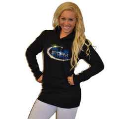 Boyfriend Style Longer Length Hoodie Featuring Blue Storm Athletics Logo