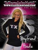 Boyfriend Style Longer Length Hoodie Featuring Texas Thunder Logo