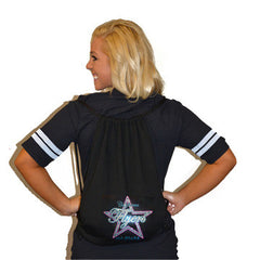 Bling Cinch Bag Featuring California Flyers Allstars Rhinestone Logo
