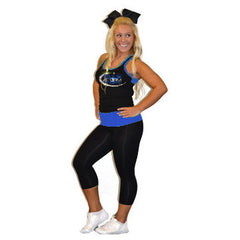 Everyday Essentials Practicewear Razor Tank and Leggings Set Featuring Blue Storm Athletics Logo in Rhinestones