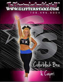 Everyday Essentials Practicewear Sports Bra and Capri Set Featuring Texas Thunder Logo in Rhinestones