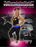 Everyday Essentials Practicewear Razor Tank and Leggings Set Featuring Texas Thunder Logo in Rhinestones