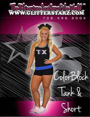 Everyday Essentials Practicewear Tank and Short Set Featuring Texas Thunder Logo in Rhinestones