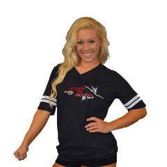 Football Style T-Shirt Featuring Artistry In Motion Logo in Rhinestones