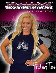 Fitted T Shirt Featuring Chi-Town Cheerleading Logo in Rhinestones