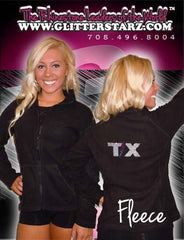 Fleece Jacket Featuring Texas Thunder Rhinestone Logo on Back