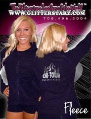 Fleece Jacket Featuring Chi-Town Cheerleading Rhinestone Logo on Back