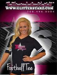 Football Style T-Shirt Featuring Xtreme Tumble and Cheer Logo in Rhinestones