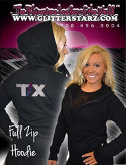 Fitted Zip Up Hoodie Featuring Texas Thunder Logo on Back