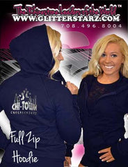 Fitted Zip Up Hoodie Featuring Chi-Town Cheerleading Logo on Back