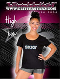 High Low Tee Featuring Skky Allstars Rhinestone Logo