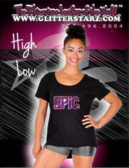 High Low Tee Featuring Epic Allstars Rhinestone Logo