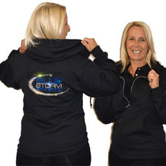 Jerzees Relaxed Fit Hoodie Featuring Blue Storm Athletics Rhinestone Logo