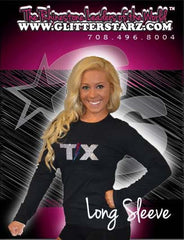 Long Sleeve T-Shirt Featuring Texas Thunder Logo in Rhinestones