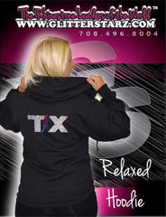 Jerzees Relaxed Fit Hoodie Featuring Texas Thunder Rhinestone Logo
