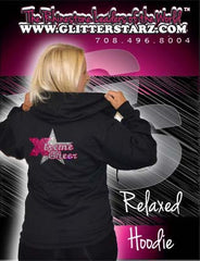 Jerzees Relaxed Fit Hoodie Featuring Xtreme Tumble and Cheer Rhinestone Logo
