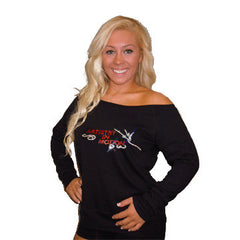 Off the Shoulder Slouchy Shirt Featuring Artistry In Motion Rhinestone Logo