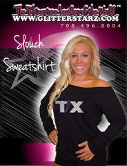 Off the Shoulder Slouchy Shirt Featuring Texas Thunder Rhinestone Logo