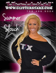 Off the Shoulder Summer Slouchy Featuring Texas Thunder Rhinestone Logo