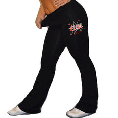 Foldover Yoga Pants Featuring Bayonne PAL Elite Cheer Rhinestone Logo