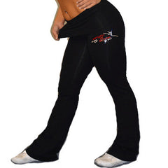 Foldover Yoga Pants Featuring Artistry In Motion Rhinestone Logo