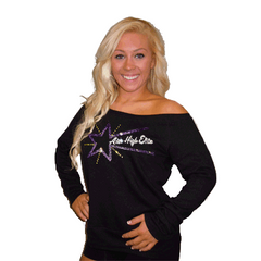 Off the Shoulder Slouchy Shirt Featuring Aim High Elite Rhinestone Logo