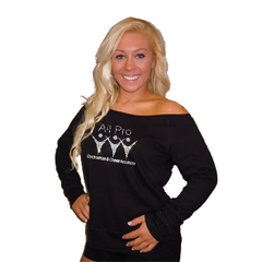 Off the Shoulder Slouchy Shirt Featuring All Pro Rhinestone Logo