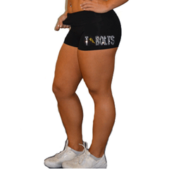 Rollover Shorts Featuring Andrew Tbolts Rhinestone Logo