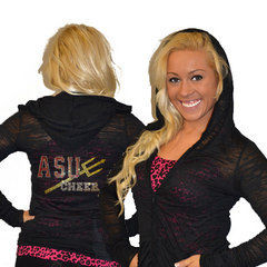 Burnout Hoodie Featuring Arizona State University Rhinestone Logo
