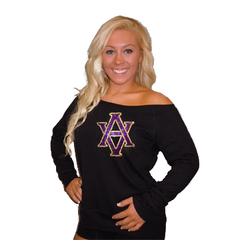 Off the Shoulder Slouchy Shirt Featuring AVHS Rhinestone Logo