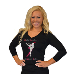 3/4 Sleeve Shirt Featuring Rhinestone Ballet Academy of Moses Lake Logo