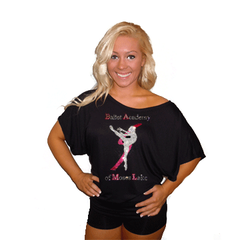 Flowy Dolman Style Shirt Featuring Ballet Academy of Moses Lake Rhinestone Logo