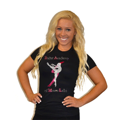 Fitted T Shirt Featuring Ballet Academy of Moses Lake Logo in Rhinestones
