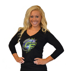 3/4 Sleeve Shirt Featuring Rhinestone Bannons Cheer Force Logo