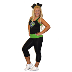 Practicewear Razor Tank and Leggings Set Featuring Bannons Cheer Force Logo in Rhinestones