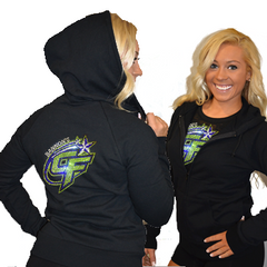 Fitted Zip Up Hoodie Featuring Bannons Cheer Force Logo on Back