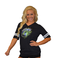 Football Style T-Shirt Featuring Bannons Cheer Force Logo in Rhinestones