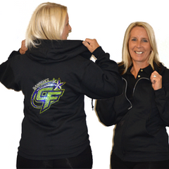 Jerzees Relaxed Fit Hoodie Featuring Bannons Cheer Force Rhinestone Logo