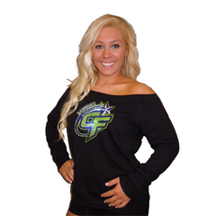 Off the Shoulder Slouchy Shirt Featuring Bannons Cheer Force Rhinestone Logo
