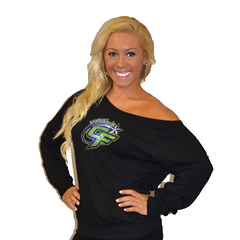Off the Shoulder Summer Slouchy Featuring Bannons Cheer Force Rhinestone Logo