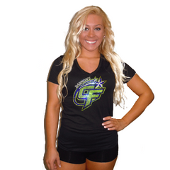 V-Neck T Shirt Featuring Bannons Cheer Force Rhinestone Logo