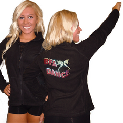 Fleece Jacket Featuring Breuil Fussion Rhinestone Logo on Back