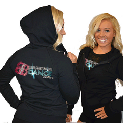 Fitted Zip Up Hoodie Featuring Broadway Bound Logo on Back