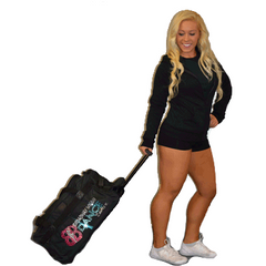 Bling Rolling Duffel Bag Featuring Broadway Bound Rhinestone Logo