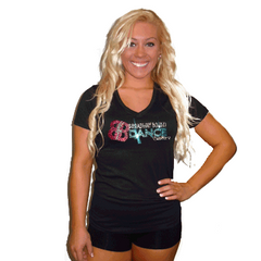 V-Neck T Shirt Featuring Broadway Bound Rhinestone Logo