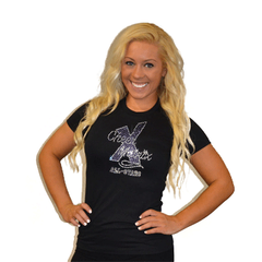 Fitted T Shirt Featuring Cheer Matrix Logo in Rhinestones