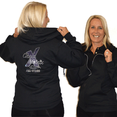 Jerzees Relaxed Fit Hoodie Featuring Cheer Matrix Rhinestone Logo