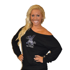Off the Shoulder Summer Slouchy Featuring Cheer Matrix Rhinestone Logo